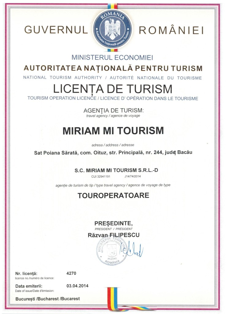 LICENTA TURISM MIRIAM MI TOURISM SRL-D 001